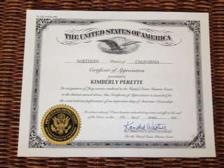 Certificate of Appreciation for Grand Jury Service
